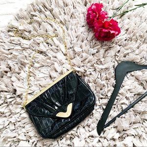 Asos Snakeskin Black Crossbody Bag